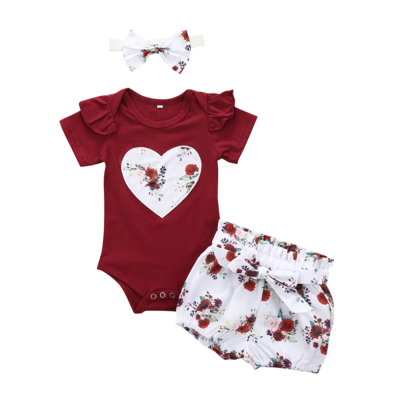 Newborn Baby Girl Summer Clothes Set Fashion Solid Color For Girls Outfit Bodysuit Shorts Headband New Born Infant Clothing Sets