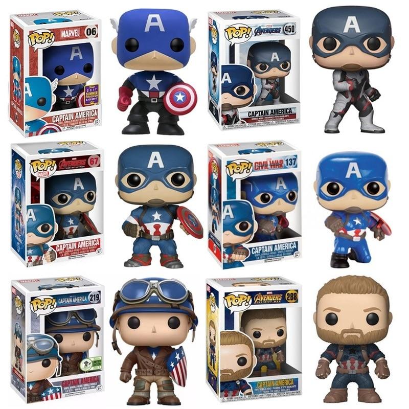 FUNKO POP Marvel Urbanvinyl Captain America Doll Model Toys Keychain Avengers Captain America Christmas Gift For Children