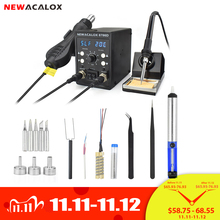 NEWACALOX EU 220V 8786 878D Soldering Station 750W Heat Gun 60W Soldering Iron Digital Adjust 2 In 1 SMD Rework Welding Station