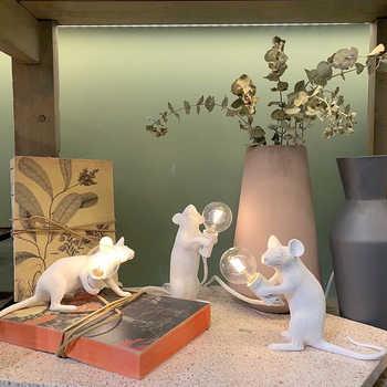 Postmodern Resin Rat Mouse Table Lamp Small Cute LED Night Lights Home Decor Desk Lights Creative Desk Lamps Bedside Gift Decor