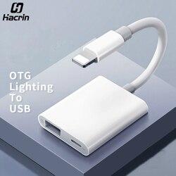 Hacrin OTG Adaptor untuk Lightning Ke USB 3 Kamera Keyboard OTG Kabel Data Converter untuk iPhone iPad untuk Apple IOS 13 OTG Adaptor