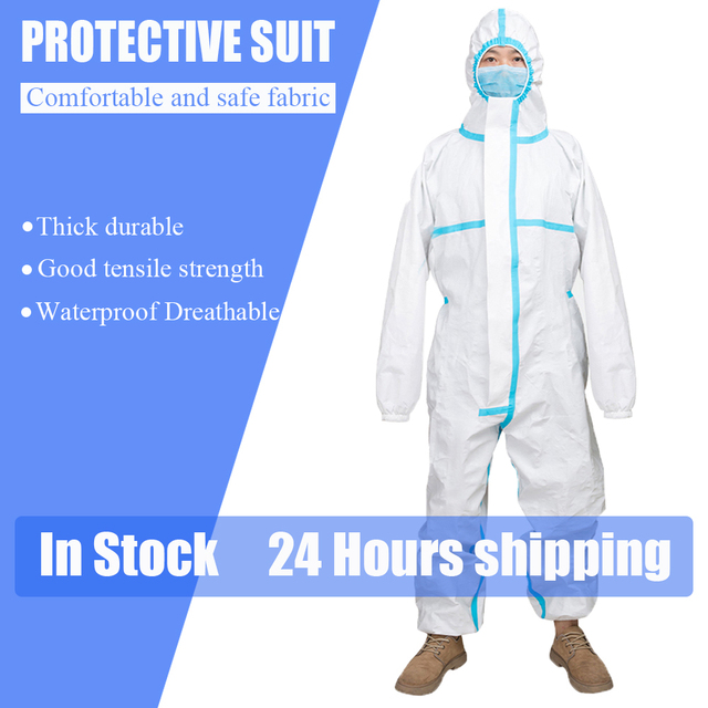 Protective Clothing ppe suit coverall Waterproof Prevents Invasion Plastic Insulation Suit Washable and Reusable