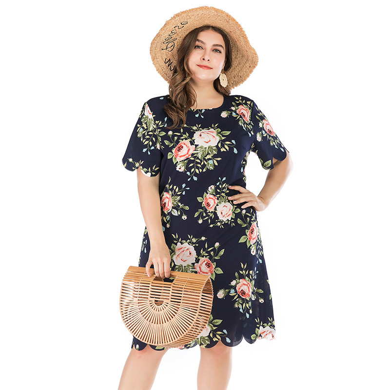 Large Size Dress Summer New Style Western Style Dress Fashion Short Sleeve Floral Printed Dress Crew Neck Flounced Long Skirts