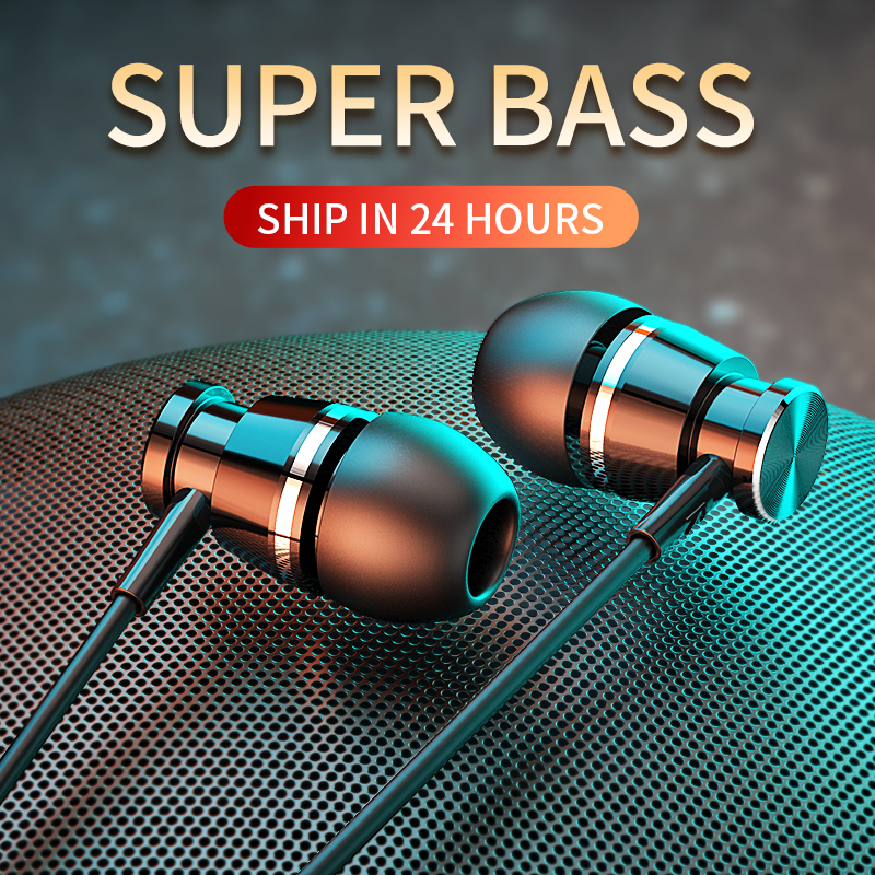 Metal Wired Headphone Earphone In-ear with Mic Sports Bass Earbuds Headset for Xiaomi IPhone Auriculares Fone Huawei