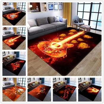 Llama guitarra serie 3D alfombras impresas para la decoración del dormitorio de la sala de estar alfombra infantil juego alfombras de rastreo coloridas alfombras para el área del hogar
