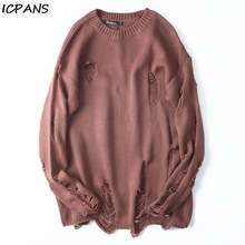 ICAPNS Oversized Men Women All-match Clothing Black Red Striped Hole Knit Sweaters Autumn Winter Sweater Loose Long Paragraph