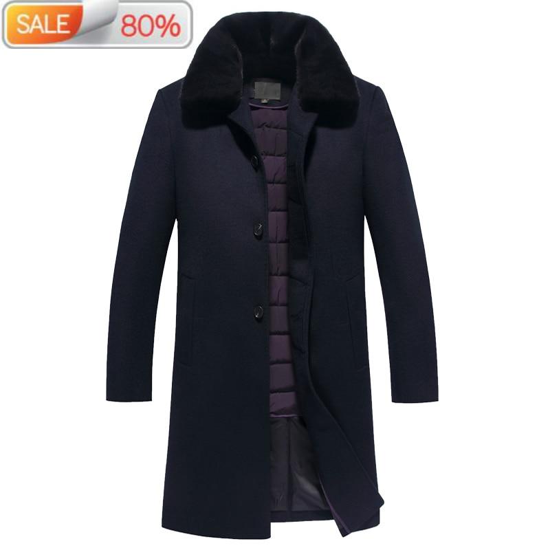 100%Wool Coat Winter Jacket Men 90% Duck Down Jackets Mens Mink Fur Collar Woolen Coats Plus Size JLK1ABZA013 ND1371