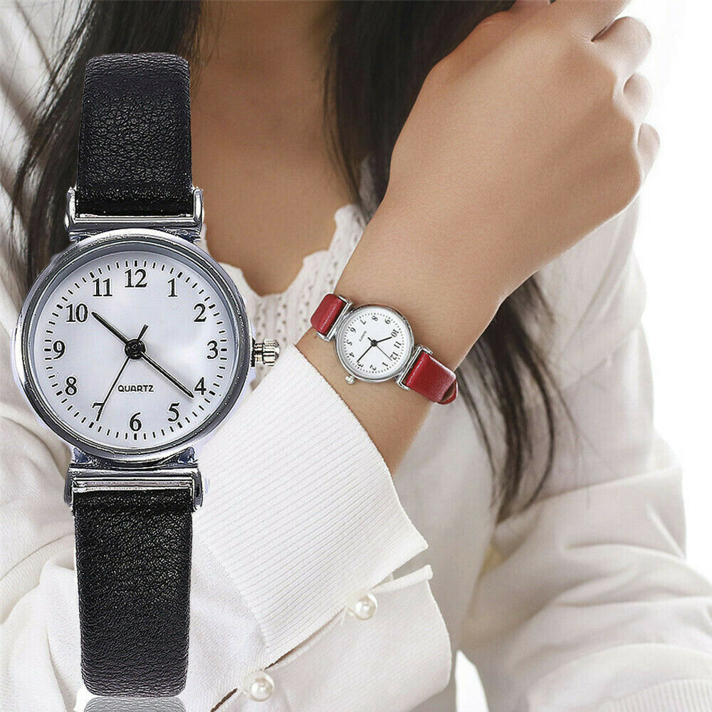 Classic Women's Casual Quartz Leather Band Strap Watch Round Analog Clock Wrist Watches 1
