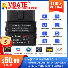 Vgate vLinker MC+ ELM327 Bluetooth 4.0 OBD 2 OBD2 Scanner WIFI ELM 327 Work for BimmerCode FORScan For Android/IOS PK OBDLINK