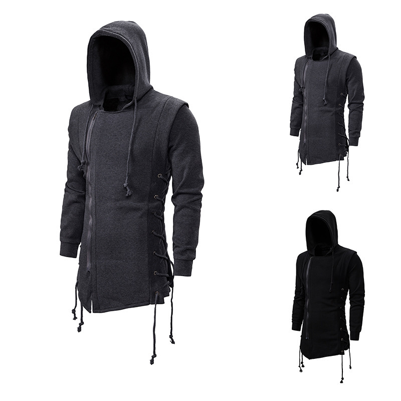 Assassin Creed Hoodies Men 2020 Fashion Hooded Loose Coat Zipper Hoodies with Side Lashing Crossed Plus Size Sweatshirt Men
