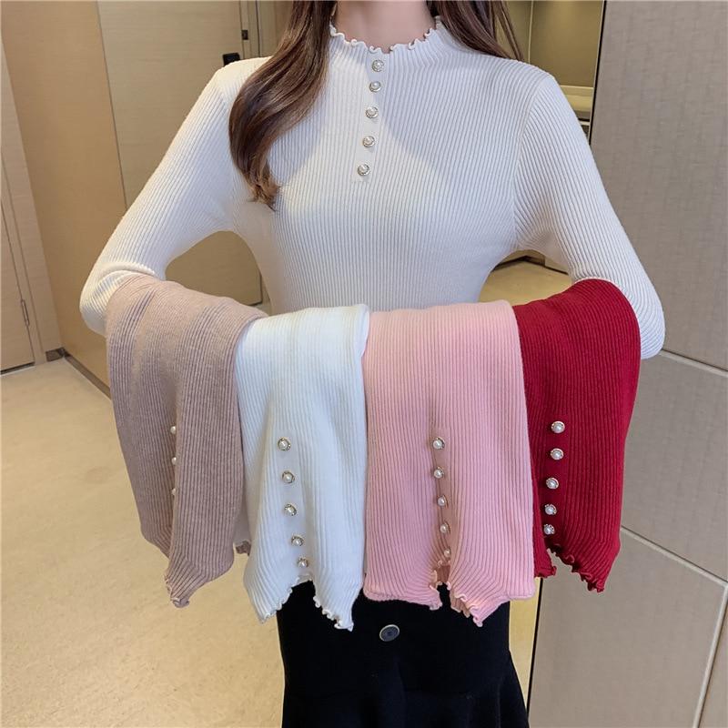 Женский трикотажный свитер QRWR, однотонный Повседневный облегающий пуловер с воротником средней длины, весна осень 2020|Водолазки| | АлиЭкспресс