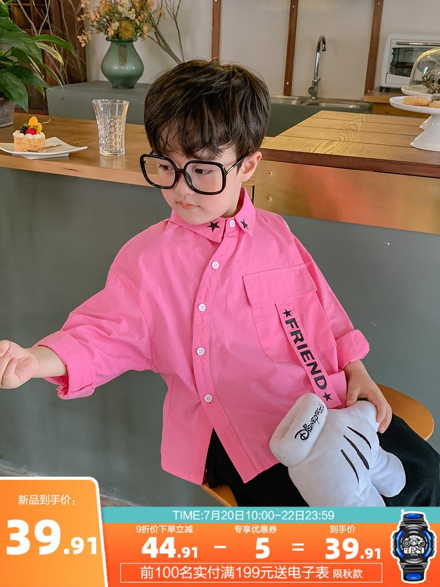 Boy's Cotton Long-Sleeved Shirt Fashion Big Boy Boy's Baby Shirt Children's 2021 New Style Autumn Coat 1