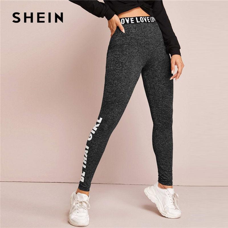 Shein Mallas Con Estampado De Letras Negra Impresa Pantalones Para Mujer Pantalones Basicos Informales De Primavera Con Cintura Elastica Ropa Activa Para Mujer Cerstyle Me
