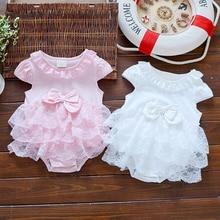 Newborn Baby summer bodysuit infant girls princess dress baby christening baptism gown party wedding 0-3 3-6 6-9 months bodysuit