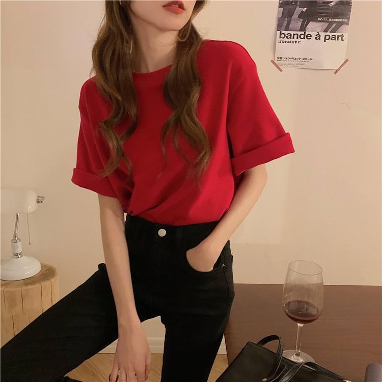 H1751f6577f8c4991a4110de99b3f6908x - Summer O-Neck Short Sleeves Cotton Basic Solid T-Shirt