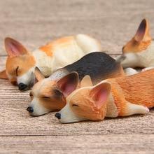 Anime Figure 5cm Mini Dog Decorative Toy Cute Sleeping Corgi 2PCS/SET Decor For Desktop Potted plant Car