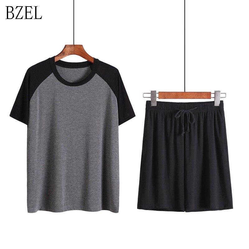 BZEL Pajama Sets Modal Sleepwear Men's Pajamas Pijama Man Home Suit Lounge Wear Cozy Sportswear Summer Short Sleeve Plus Size