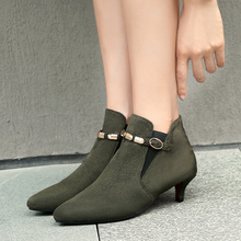 Ботильоны женские на низком каблуке, винтажные полусапожки в стиле ретро, модная обувь с пряжкой, большие размеры, серые, красные, зеленые