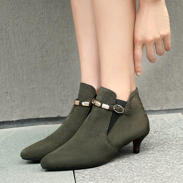 Retro Vrouwen Laarzen Vintage Lage Hak Enkellaarsjes Voor Vrouwen Mode Gesp Vrouwen Korte Schoenen Vrouw Grote Maat Grijs Rood groene Laarzen