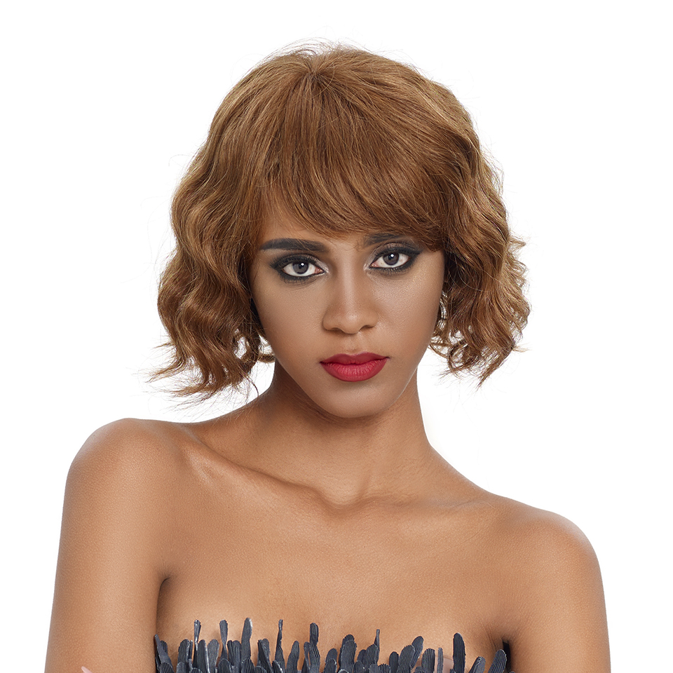 Sleek Short Human Hair Wigs Natural Wave 100% Remy Brazilian Hair Wigs TT1B/27 Pixie Cut Wig 150% Density  8 Inch Short Wigs