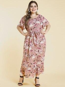 Beige Floral Plus Size Dress Clothes Plus Size cb5feb1b7314637725a2e7: Multi