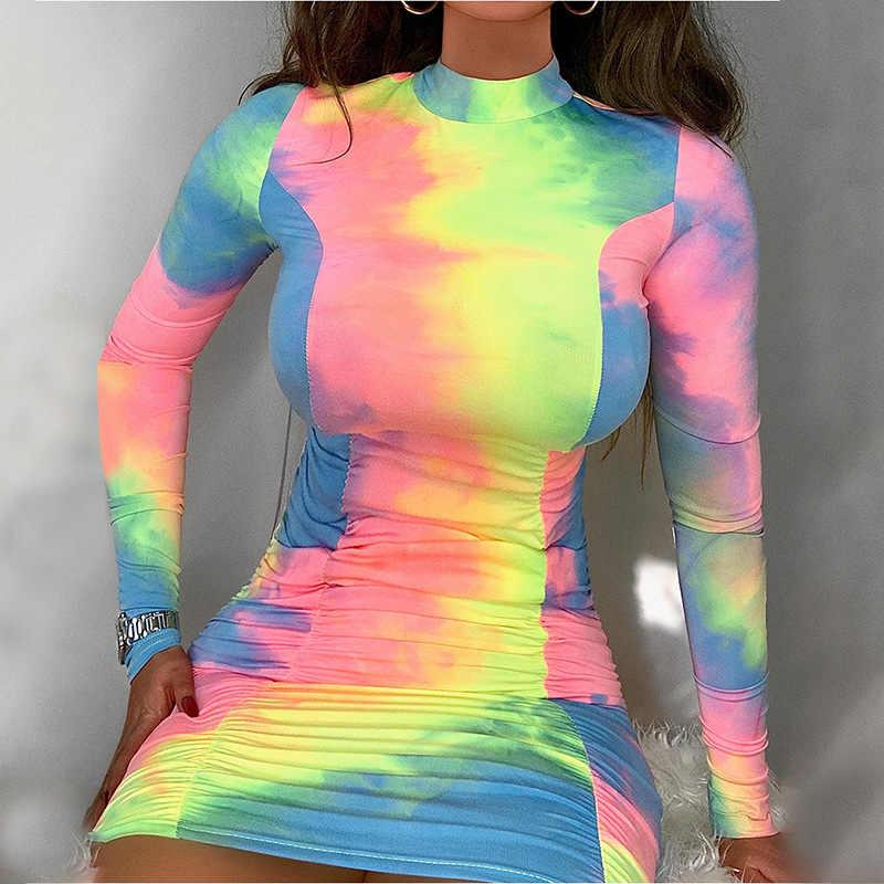 2020 ยุโรปอเมริกาขายร้อน Tie-DYE แฟชั่นชุด 2020 ฤดูร้อนใหม่รอบคอยาวแขนยาวพิมพ์ผู้หญิง vestidos ไนท์คลับ