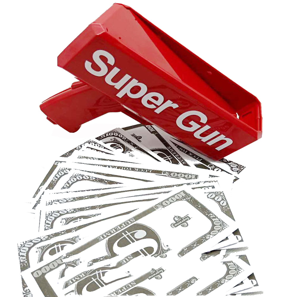 Make It Rain Money Gun Red Cash Super Gun Toys 100PCS Cash Bar nightclub party  Game Outdoor Fun Fashion Gift Pistol Toys