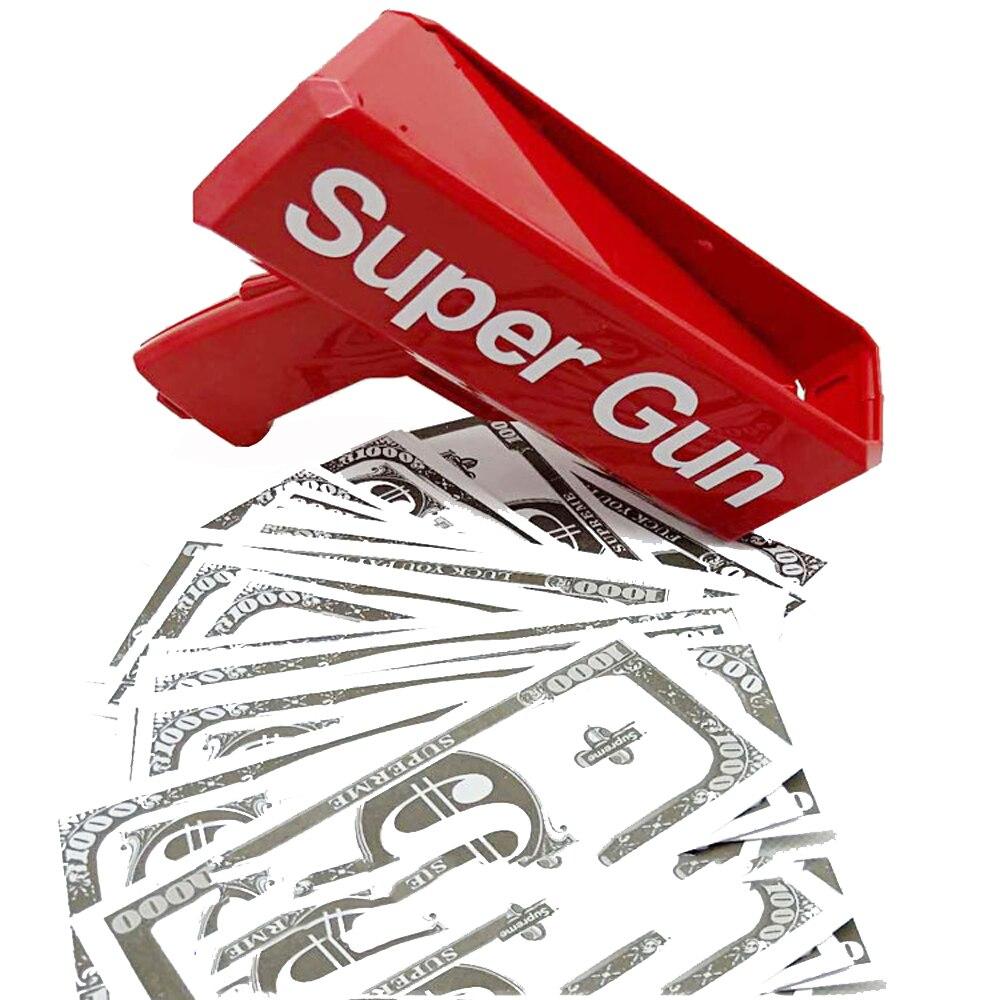 Make It Rain Money Gun Red Cash Super Gun Toys 100PCS Cash Bar Nightclub Party  Game Outdoor Fun Fashion Gift Pistol Toys