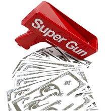 Faça chuva dinheiro arma red cash super gun brinquedos 100 pçs cash bar discoteca festa jogo ao ar livre diversão moda presente pistola brinquedos
