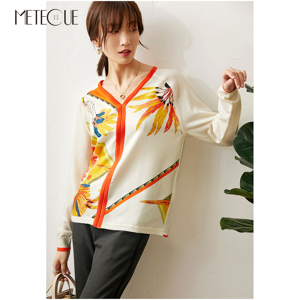 Twill Silk Knitted Patched Women Tops 2020 Spring Summer Fashion Printed V Neck Long Sleeve Women Sweaters Knitwears