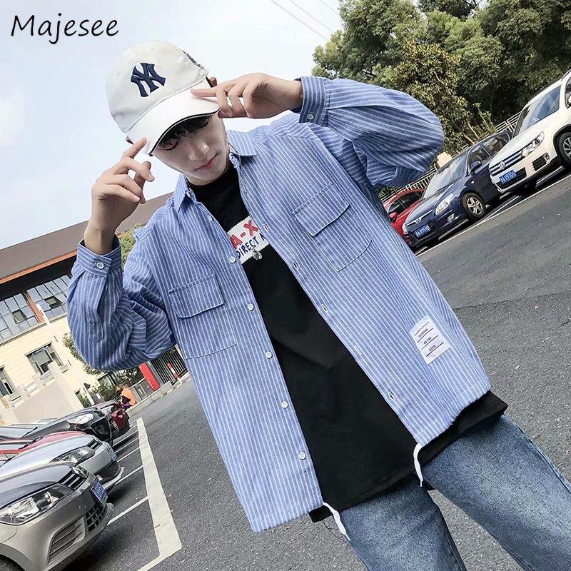 Shirts Men Clothing Korean Style Plus Size Long Sleeve Striped Shirt Mens Regular Casual Slim Fit Males Harajuku Comfortable