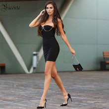 VC All Free Shipping Trendy Beads Chain Design Mini Dress Sexy Sleeveless Backless Celebrity Party Bandage Slip Dress