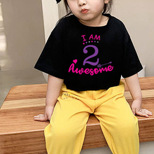 Girls Happy Birthday Letter Print T Shirt Baby Summer Cute Clothes Kids Funny Birthday Gift Number T-shirt Children's Girls Tops