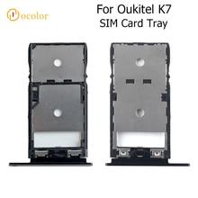 Oukitel k7 sim 카드를위한 ocolor oukitel k7 sim 카드 쟁반을위한 쟁반 접합기 sd 구멍 홀더 보충 이동 전화 부속품