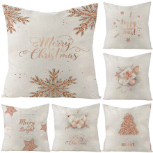 45x45 Christmas Pillow Covers Linen Cushion Pink Xmas Pillowcase Hidden Zipper Closure Pillows Christmas Tree Pillowcase Decor hidden christmas