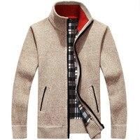 Мужской свитер, Осень-зима, плюс бархат, утолщенная шерсть из искусственного меха, большой размер 4XL, Вязанное пальто на молнии, кардиган с во...