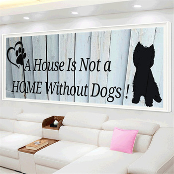HUACAN Full Square Diamond Paintings Cat Paint With Diamonds Embroidery Cartoon Dog Home