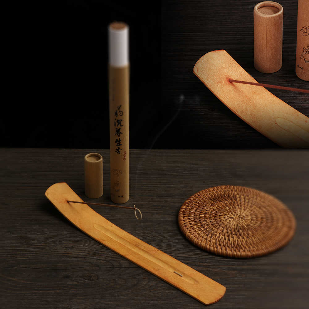 1 pieza de caja de incienso de bambú Retro tallado en madera Natural incienso con aromas de flores Censer Joss-stick insertado titular Ash Catcher aromaterapia