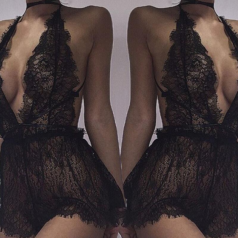 Sexy Women's Halter Lace See Through Lingerie Nightwear Underwear G-string Babydoll Sleepwear Dress