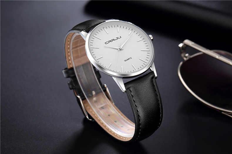 CRRJU hommes montre Simple conception de mode montre-bracelet à Quartz étanche bracelet en cuir montres d'affaires homme horloge de luxe Relogio