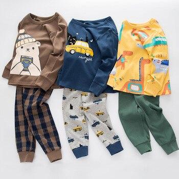الطفل بيجامات للأطفال مجموعات القطن الأولاد ملابس خاصة بدلة الخريف الفتيات منامة طويلة الأكمام البيجامات قمم + السراويل 2 قطعة ملابس الأطفال