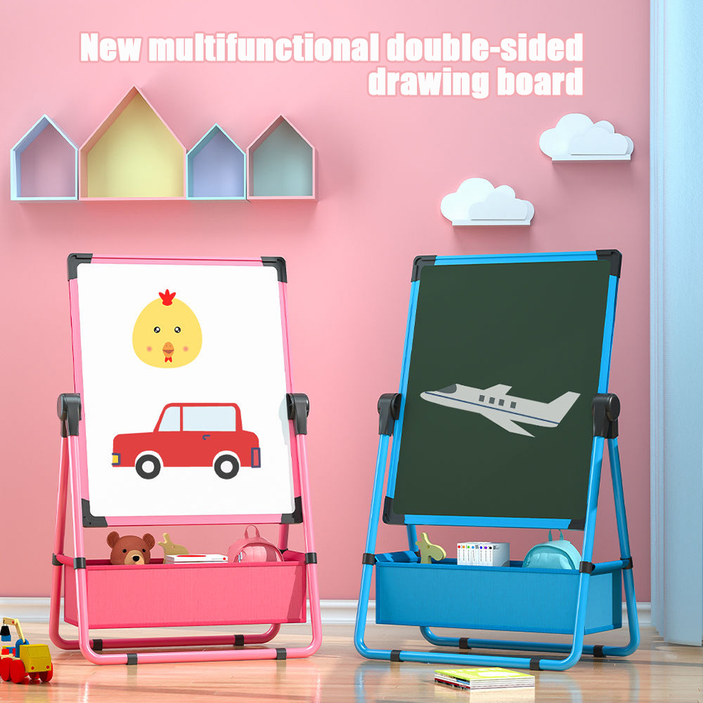 Children's Double-sided Writing Drawing Board Erasable Small Blackboard Bracket Magnetic Dust-free Whiteboard Baby Doodle Tools