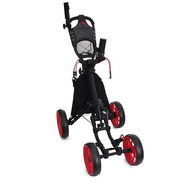 Folding Aluminum Alloy Golf Trolley 4 Wheels Golf Bag Pull Push Cart Umbrella Cup Holder Adjustable Trolley with Footbrake 1