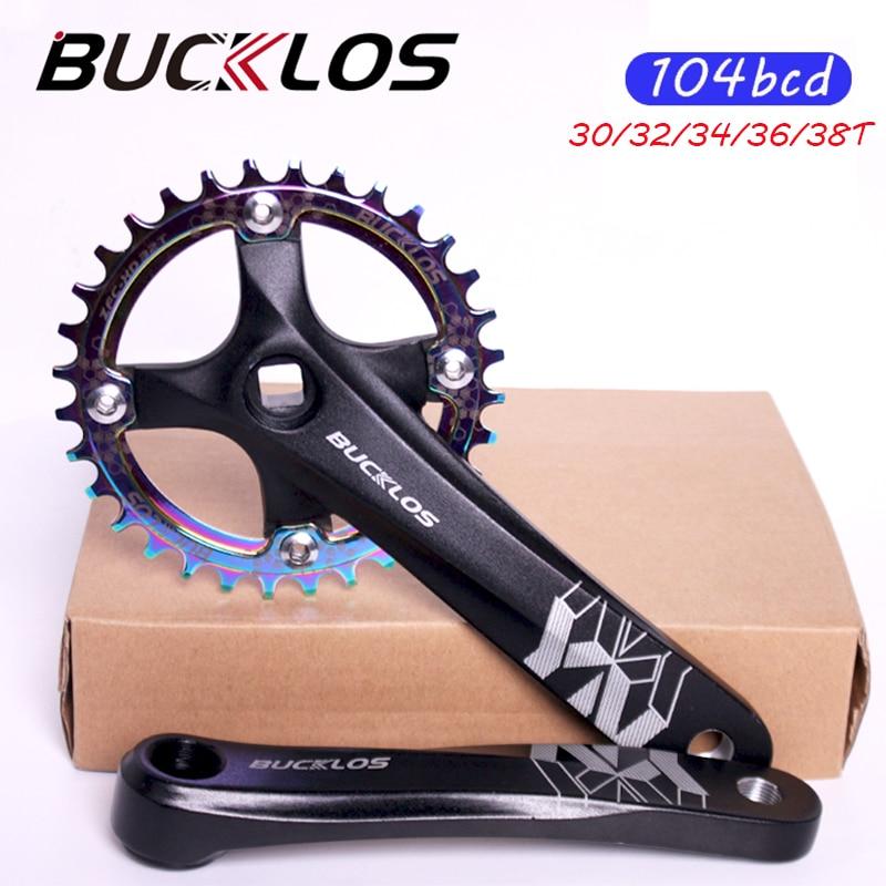 BUCKLOS bicicleta manivela 104 BCD MTB plato de bicicleta de aleación de aluminio de 170mm bicicleta manivela 30T32T34T36T38T plato ciclismo parte