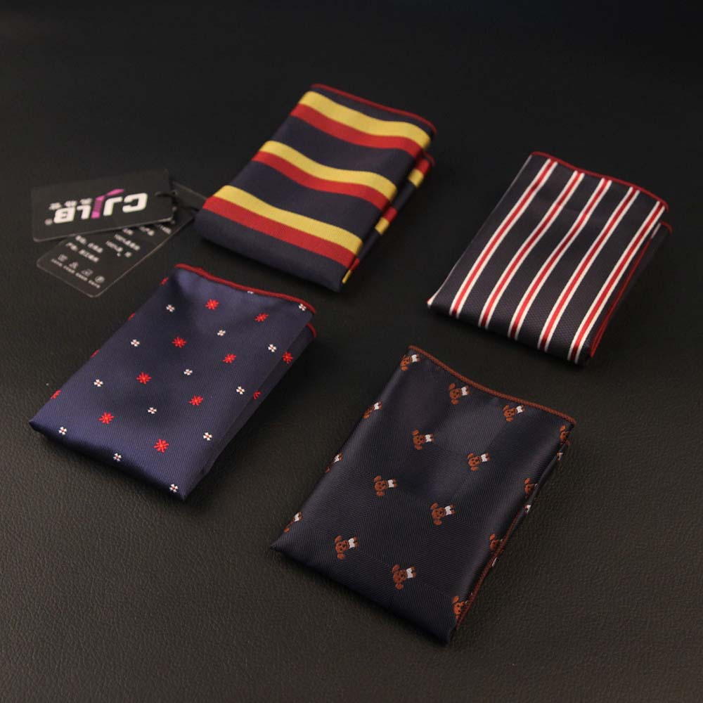 Luxury Men's Handkerchief Polka Dot Striped Floral Printed Hankies Polyester Hanky Business Pocket Square Chest Towel 24*24CM