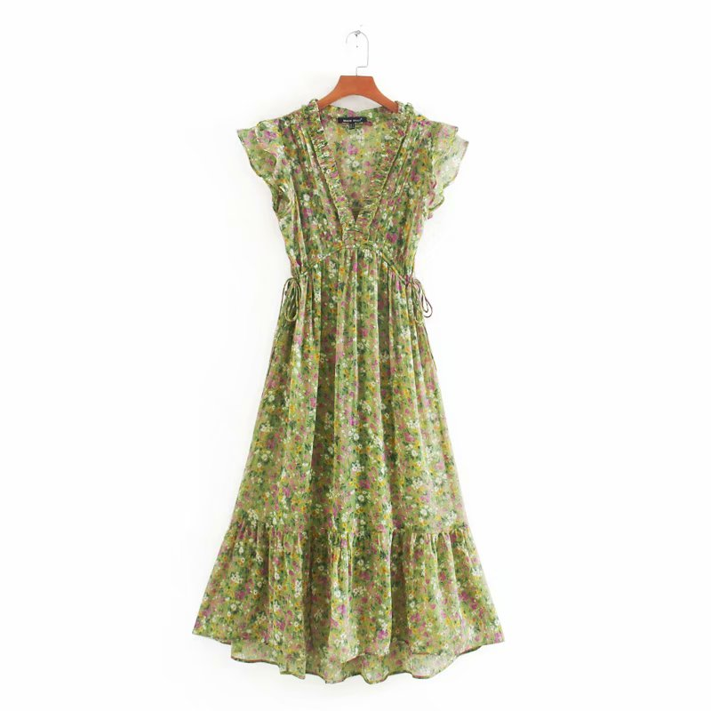 New 2020 women sweet v neck print chiffon midi dress elegant agaric lace ruffles vestidos chic brand party summer dresses DS3581