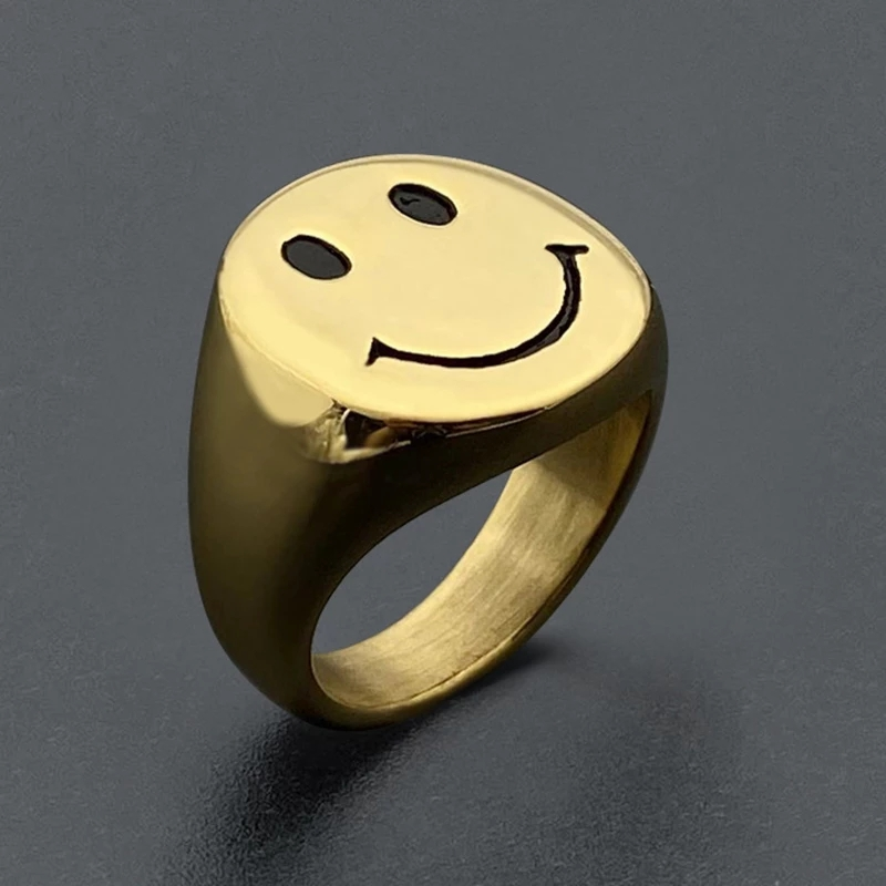 YPAY 2021 Новый Стиль Золото Цвет нержавеющая сталь кольца из нержавеющей стали для женщин Ретро Античная смайлик палец кольцо вечерние ювелирные подарки Кольца      АлиЭкспресс