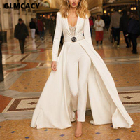 Women Long Sleeve V Neck Long Overalls Jumpsuit Classy Formal Party Clubwear Elegant Runway Jumpsuit Outfits