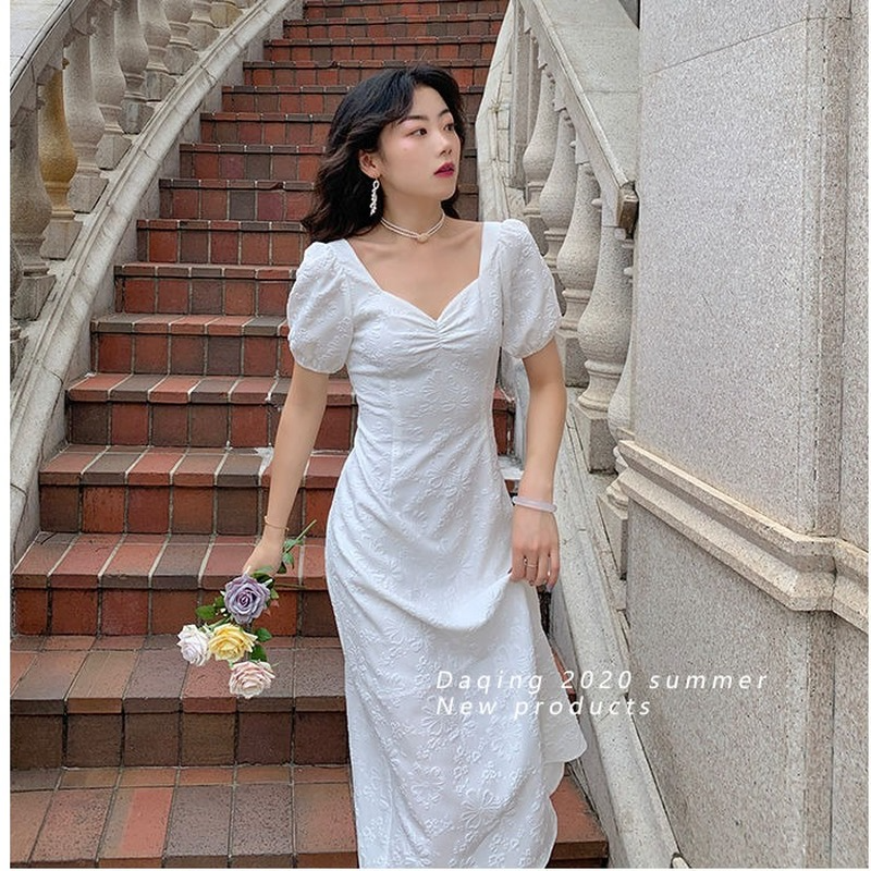 French Elegant Dress Slim Square Collar White Backless Bandage Midi Dress Female Evening Party Design Korea Style 2021 Summer Women Women's Clothings Women's Dresses