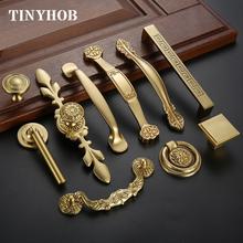 Wysokiej jakości chiński antyk mosiężne złote uchwyty w stylu europejskim prosta szafa szuflada szafki uchwyty tanie tanio TINYHOB Maszyny do obróbki drewna Mosiądz C-0061 Meble uchwyt i pokrętła 128mm